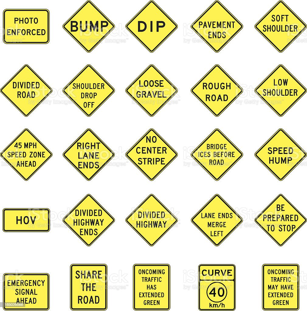 warning road signs in vector format royalty-free warning road signs in vector format stock vector art & more images of accidents and disasters