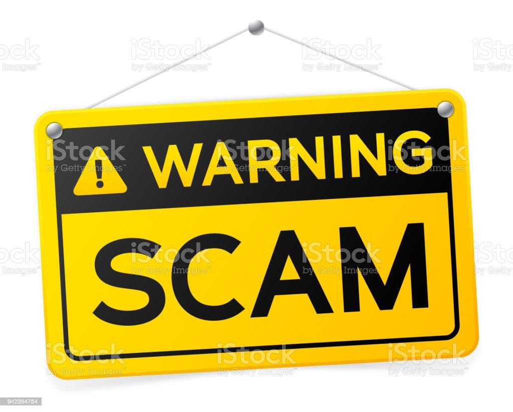 Warning Scam Sign vector art illustration