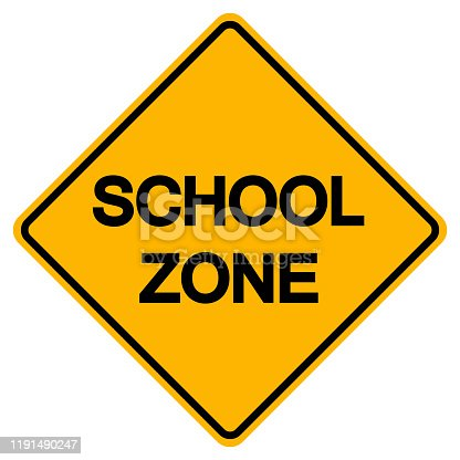 Warning School Zone Yellow Symbol Sign, Vector Illustration, Isolate On White Background Label. EPS10
