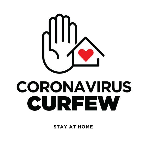stockillustraties, clipart, cartoons en iconen met waarschuwingsbord over coronavirus of covid-19 vectorillustratie - avondklok