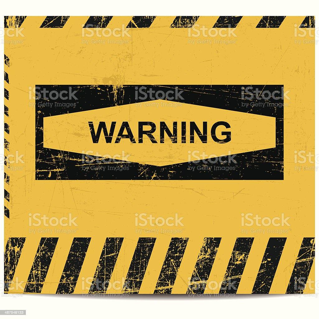 Warning sign banner vector art illustration