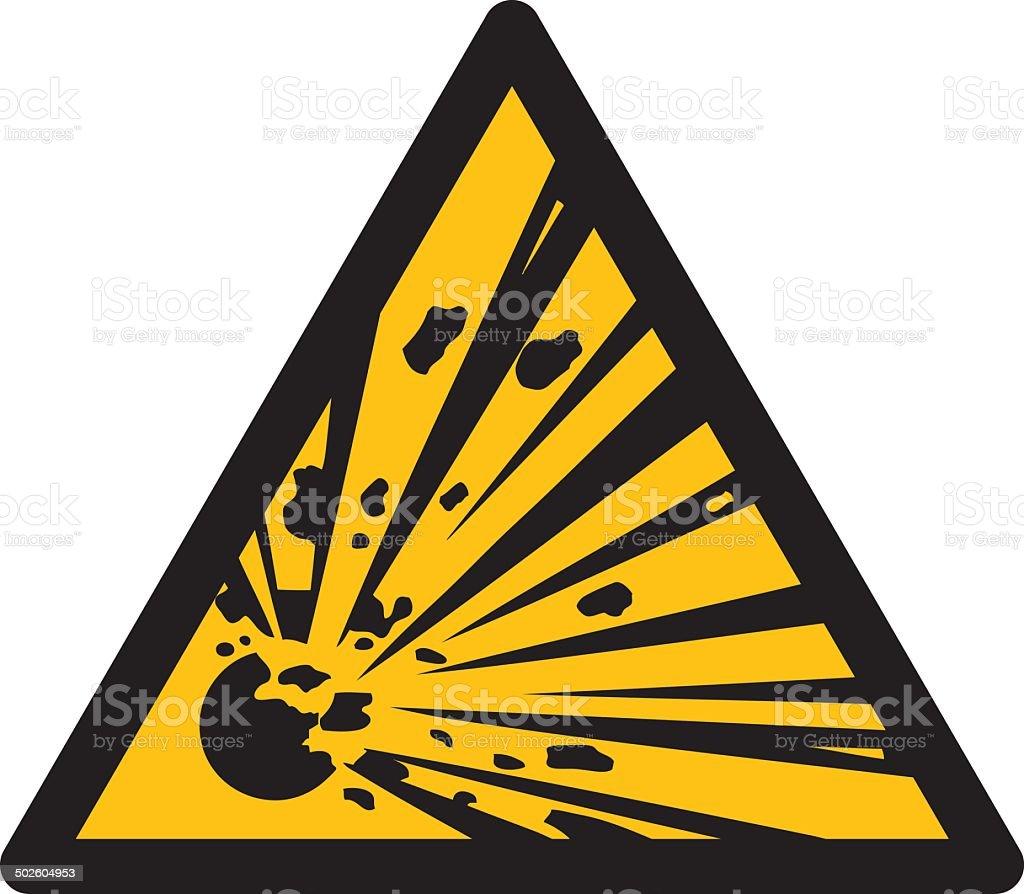 Warning sign, BEWARE EXPLOSIVE SUBSTANCES vector art illustration