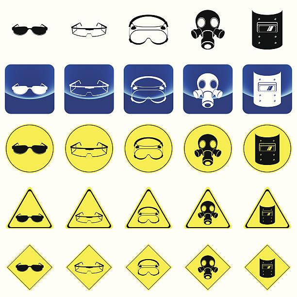 warnsignal für die augen schutz - schutzbrille stock-grafiken, -clipart, -cartoons und -symbole