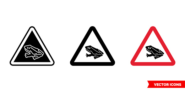 Warning sign frogs crossing the road icon of 3 types color, black and white, outline. Isolated vector sign symbol