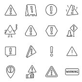 Warning sign, icon set. attention. Line with editable stroke