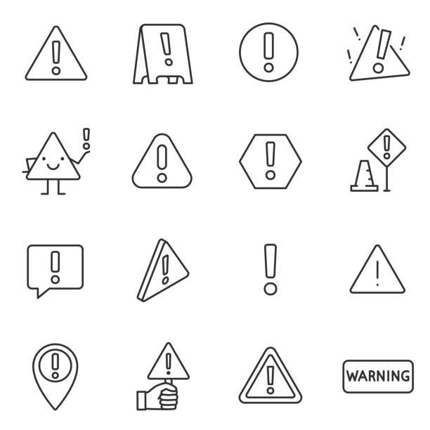 ilustraciones, imágenes clip art, dibujos animados e iconos de stock de señal de advertencia, conjunto de iconos. atención, los iconos lineales. línea con el movimiento editable - seguridad