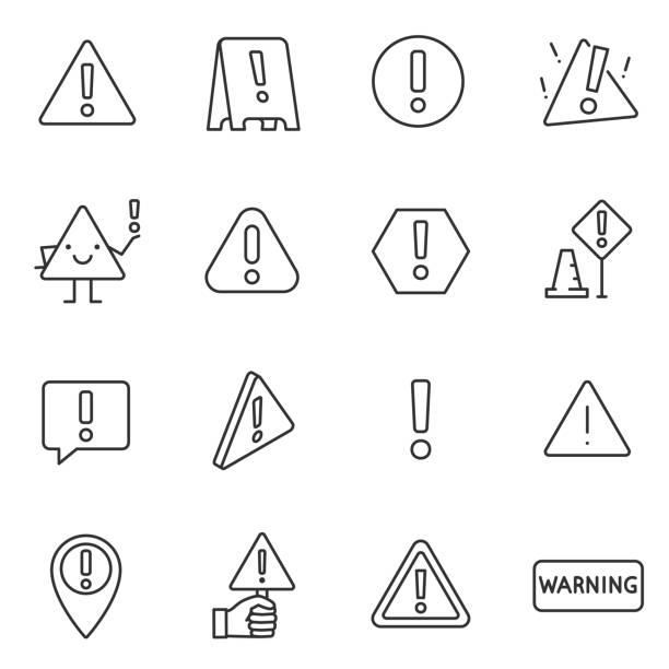 ilustrações de stock, clip art, desenhos animados e ícones de warning sign, icon set. attention , linear icons. line with editable stroke - seguros