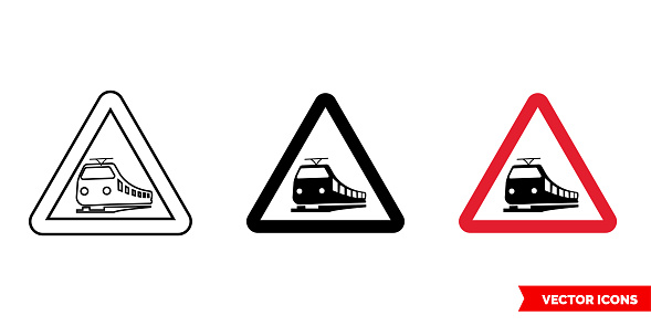 Warning sign of crossing railroad icon of 3 types color, black and white, outline. Isolated vector sign symbol