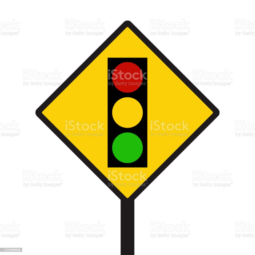 warning sign of red light isolated traffic light icon vector on red  triangle sign creative traffic light sign template stock illustration -  download image now - istock  istock