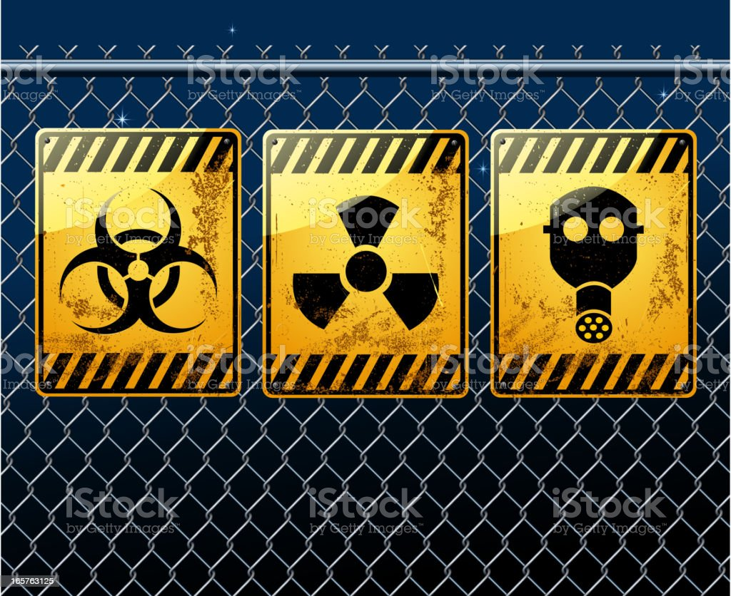 warning sign on chainlink fence royalty-free stock vector art