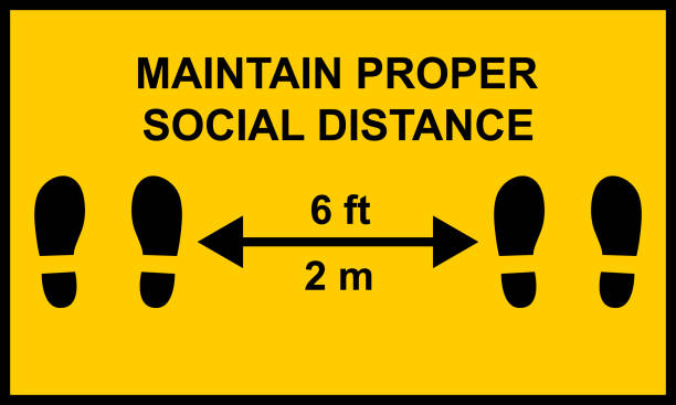 Warning sign reminding people to keep a minimum distance of six feet or two meters between them.  Social distance public health measures to prevent further spread of Covid-19 infections. Warning sign reminding people to keep a minimum distance of six feet or two meters between them.  Social distance public health measures to prevent further spread of Covid-19 infections. distant stock illustrations