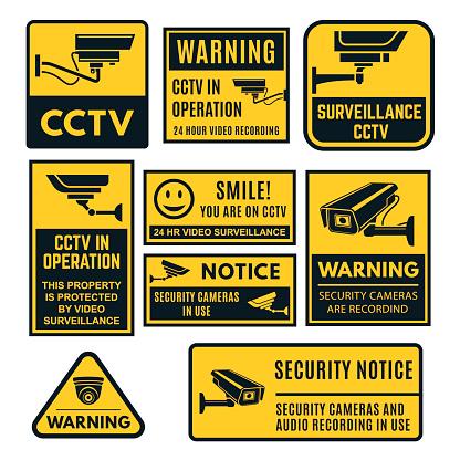 CCTV warning sign set, video system control