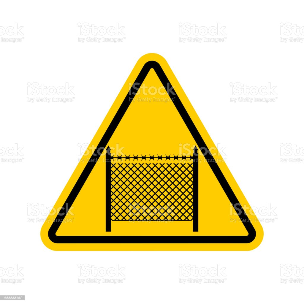 Warning sign symbol with barbed wire fence. Note border on road. Road yellow sign interdiction zone royalty-free warning sign symbol with barbed wire fence note border on road road yellow sign interdiction zone stock vector art & more images of barbed wire