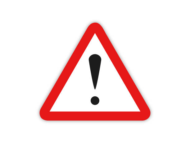 Warning Sign Symbol With Exclamation Mark Icon  - Vector Warning sign with exclamation mark vector illustration road warning sign stock illustrations