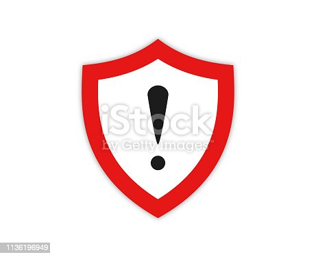 Warning sign with exclamation mark vector illustration