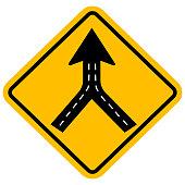 istock Warning sign two way road merge. 1248963758
