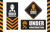 Warning sign under construction set. Black and orange color. Logo concept. Conceptual image of tools for repair, construction and builder. Cartoon flat vector illustration. Objects isolated on a background.