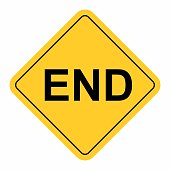 END warning sign isolated on white. Colorful illustration.