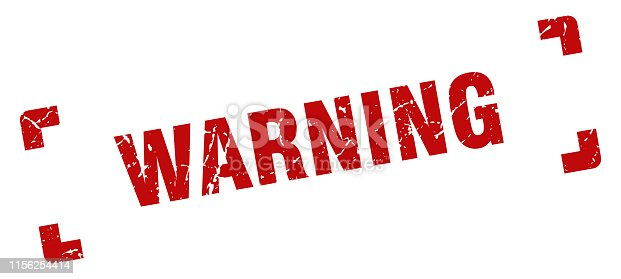 warning square grunge textured stamp. warning sign
