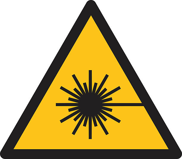 Warning sign WARNING FOR LASER BEAM Warning sign WARNING FOR LASER BEAM  stealth stock illustrations