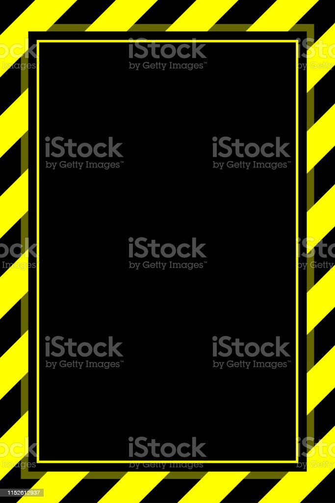 warning sign yellow black stripe frame template background copy...