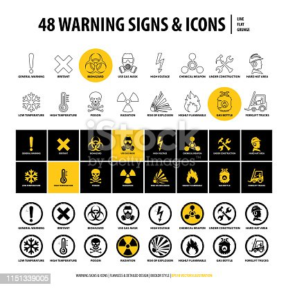 vector set of warning signs and icons, 48 isolated danger emblems, collection of creative symbols in line, flat, grunge style design, illustration of industrial shapes and elements on white background