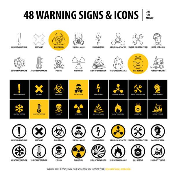 bildbanksillustrationer, clip art samt tecknat material och ikoner med 48 varnings skyltar och ikoner - fire alarm