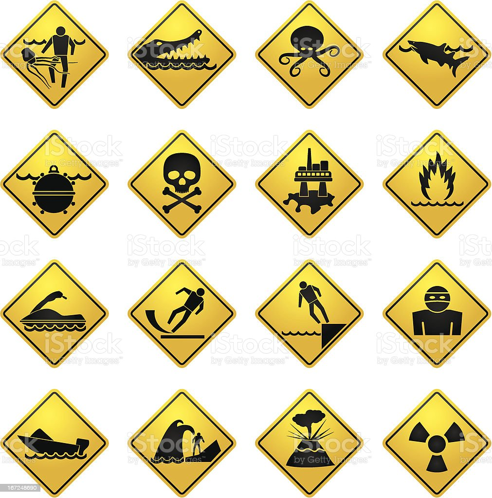 Warning Signs for dangers in sea, ocean, beach and rivers vector art illustration