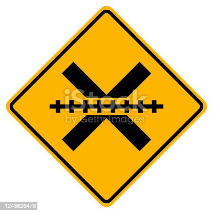 Warning signs Railway Level Crossing on white background