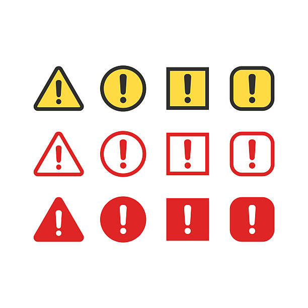 Warning signs set Warning, attention signs set. Exclamation mark symbol, bright danger colors. Triangle, circle and rectangle vector icons. alertness stock illustrations