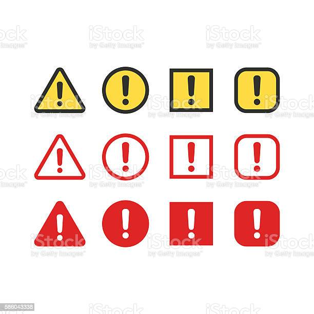 Warning, attention signs set. Exclamation mark symbol, bright danger colors. Triangle, circle and rectangle vector icons.