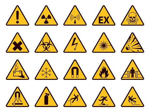 Warning signs. Yellow triangle alerts symbols, attention chemical, flammable and radiation danger, accident exclamation caution vector icons