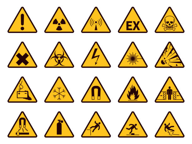 ilustrações de stock, clip art, desenhos animados e ícones de warning signs. yellow triangle alerts symbols, attention chemical, flammable and radiation danger, accident exclamation caution vector icons - inflamável