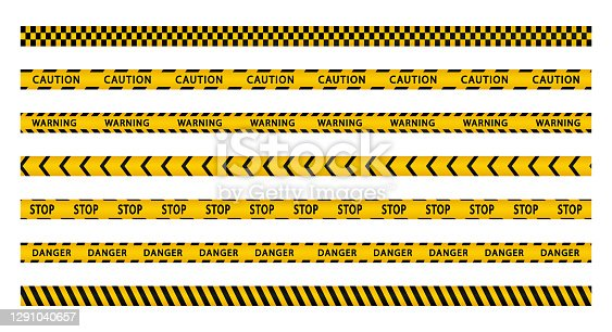 istock Warning stripes set. Police line, danger stripes. Yellow stripes border. Caution tape. Do not cross. 1291040657