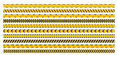istock Warning stripes set. Police line, danger stripes. Yellow stripes border. Caution tape. Do not cross. 1291040664