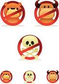 vector symbols of warning: no skull, no bear, no bull.