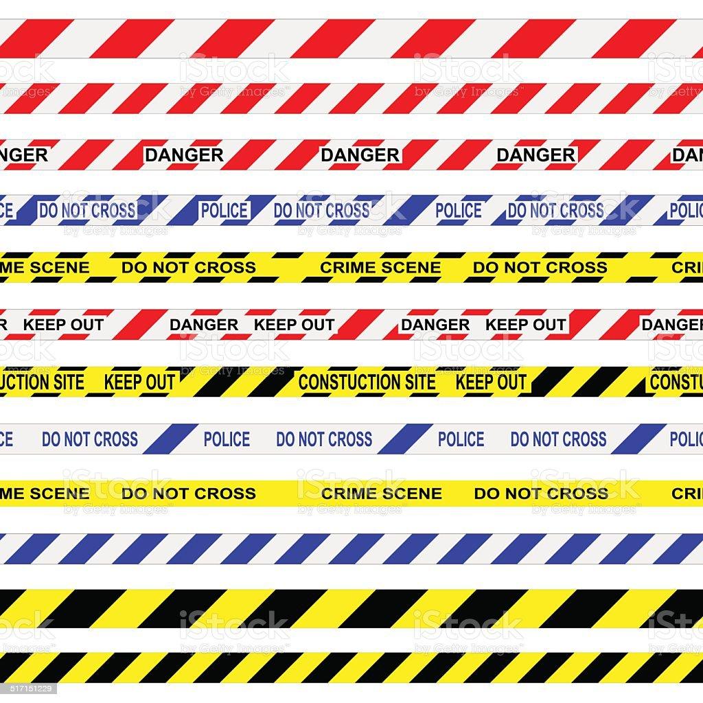 Warning Tapes vector art illustration