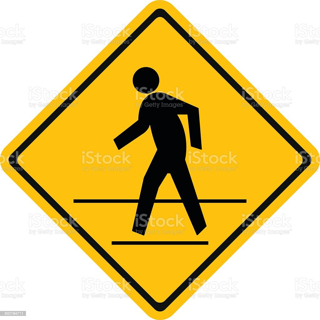 Warning traffic, Pedestrian traffic road sign vector art illustration