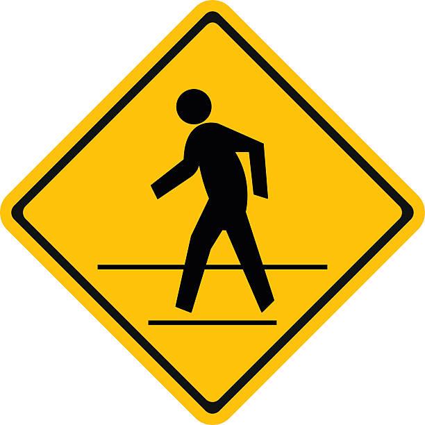 warning traffic, pedestrian traffic road sign - crossing stock illustrations, clip art, cartoons, & icons