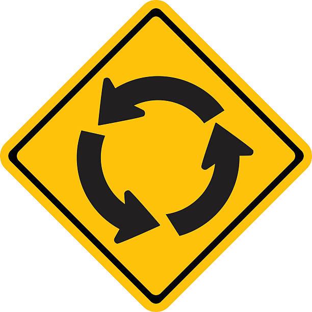 illustrations, cliparts, dessins animés et icônes de panneau de signalisation d'avertissement, rond-point - rond point
