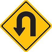 Warning traffic sign U-TURN