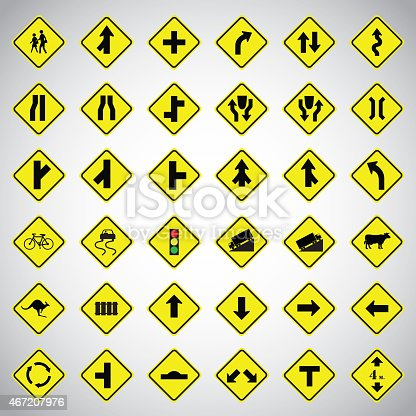Warning Traffic Signs vector set on white background.