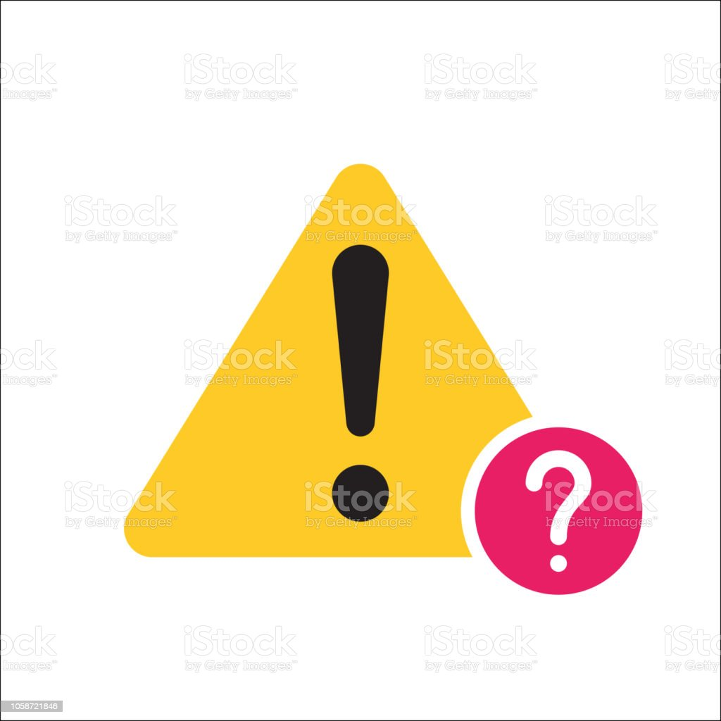 Warning triangle icon, Error, alert, problem, failure icon with question mark. Warning triangle icon and help, how to, info, query symbol vector art illustration