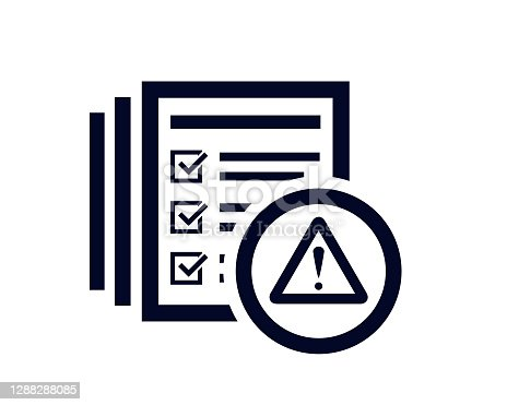 istock Warning triangle with document list and tick check marks 1288288085