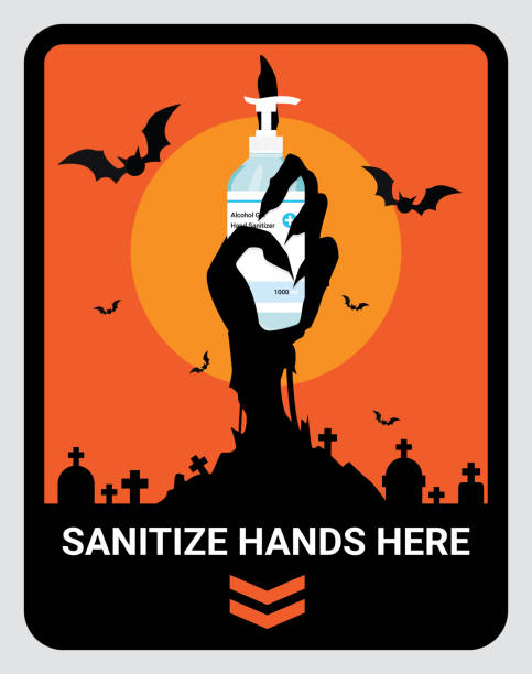 Warning upon entering Sanitize Hand Here sign to reduce spread of Covid-19 coronavirus concept. Design by zombie hand holding hand sanitizer. Wall sticker for stores and supermarkets on Halloween. Vector Illustration Warning upon entering Sanitize Hand Here sign to reduce spread of Covid-19 coronavirus concept. Design by zombie hand holding hand sanitizer. Wall sticker for stores and supermarkets on Halloween. Vector Illustration. halloween covid stock illustrations