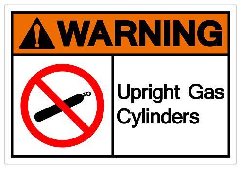 Warning Upright Gas Cylinders Symbol Sign, Vector Illustration, Isolate On White Background Label. EPS10