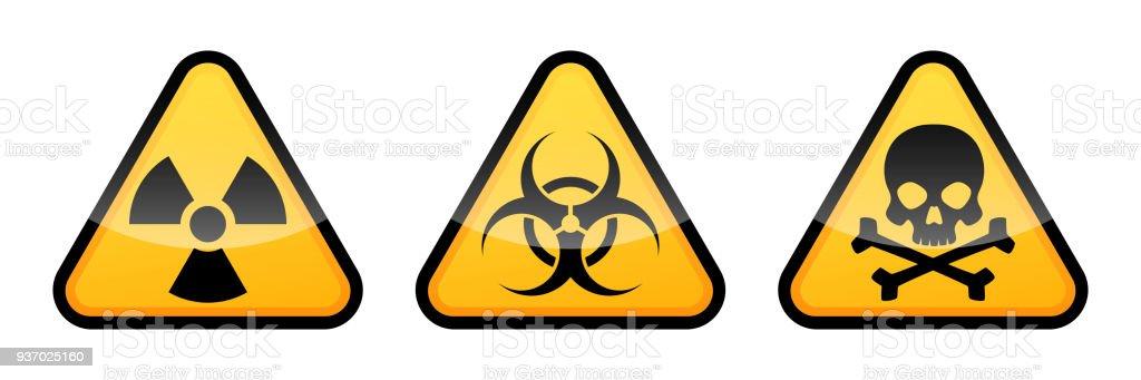 Warning vector signs. Radiation sign, Biohazard sign, Toxic sign. vector art illustration