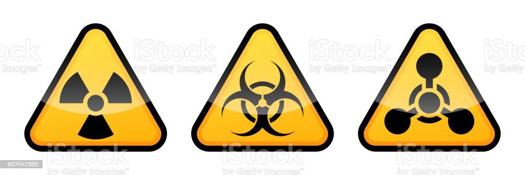 Warning Vector Signs Set Radiation Sign Biohazard Sign Chemical