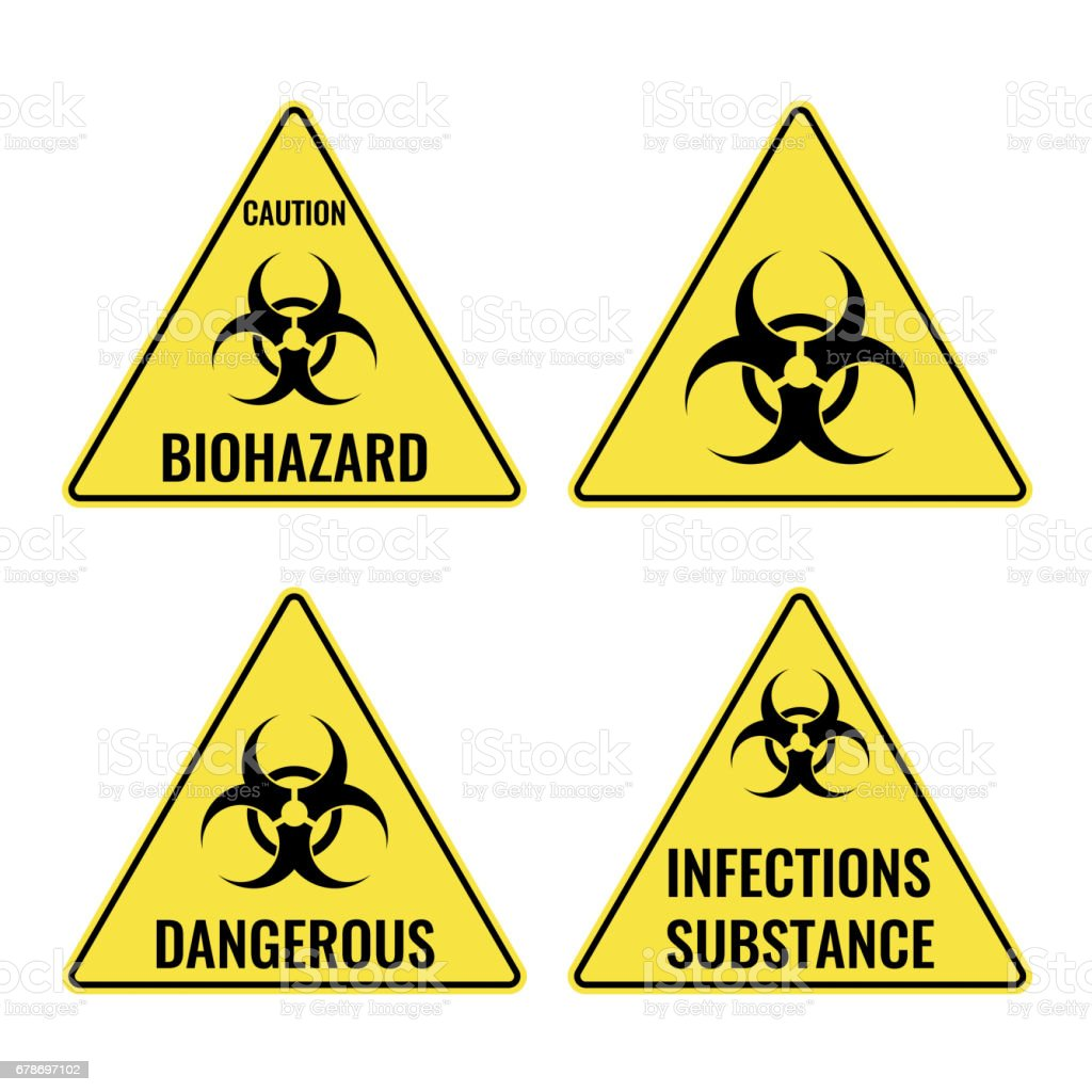 Warning yellow signs in triangular shape vector caution emblems vector art illustration