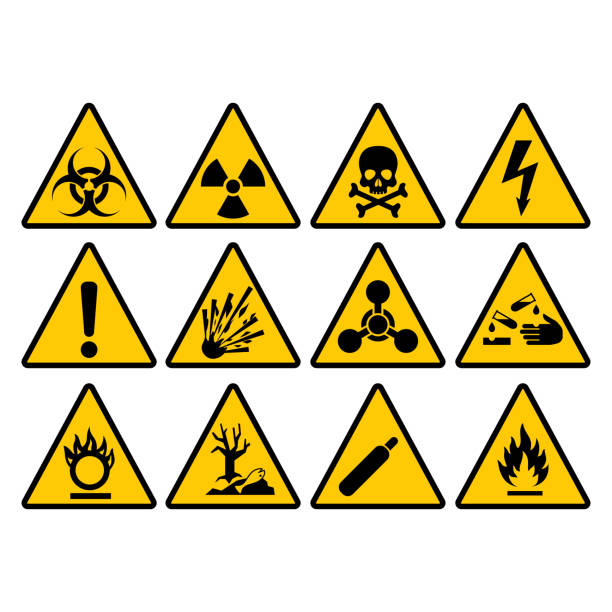 Warning yellow triangle sign set. Warning and hazard triangular vector signs. Warning yellow triangle sign set. Warning and hazard triangular vector signs. poisonous stock illustrations